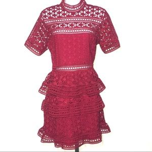 NWOT RED COCKTAIL PARTY STAR LACE PANELED DRESS